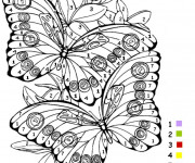 Coloriage et dessins gratuit Magiques Chiffres Papillons à imprimer