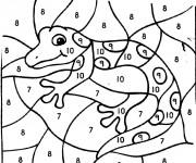 Coloriage et dessins gratuit Magiques Lézard Numéro à imprimer