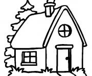 Coloriage et dessins gratuit Maison avec cheminée à imprimer