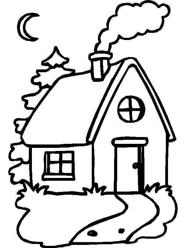 Coloriage et dessins gratuits Maison avec cheminée à imprimer