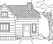 Coloriage dessin  Maison Simple 9