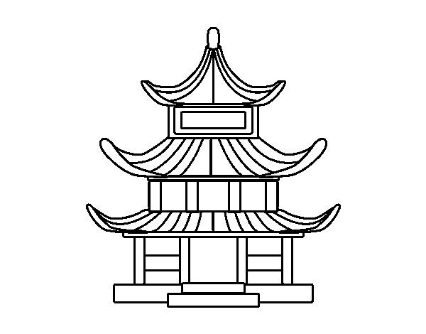 Coloriage et dessins gratuits Maison Simple asiatique à imprimer