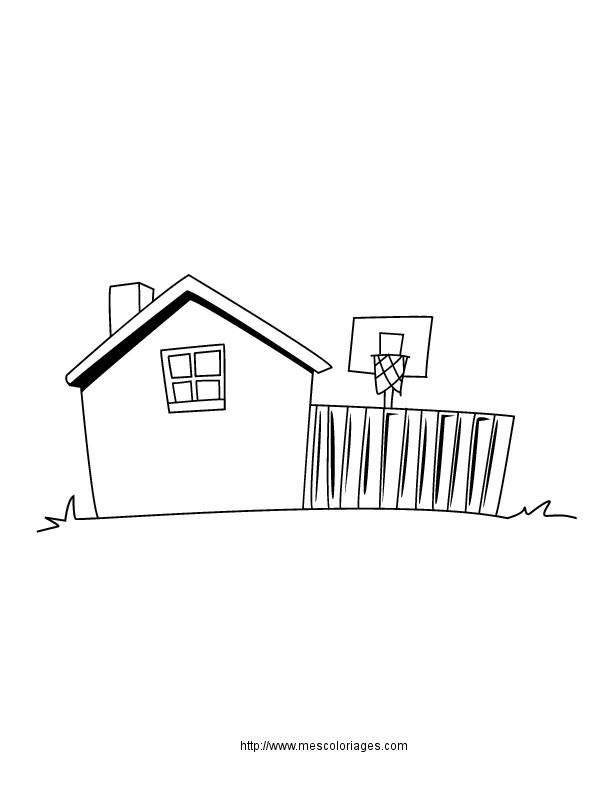 Coloriage et dessins gratuits Maison Simple avec Terrain de Basket à imprimer