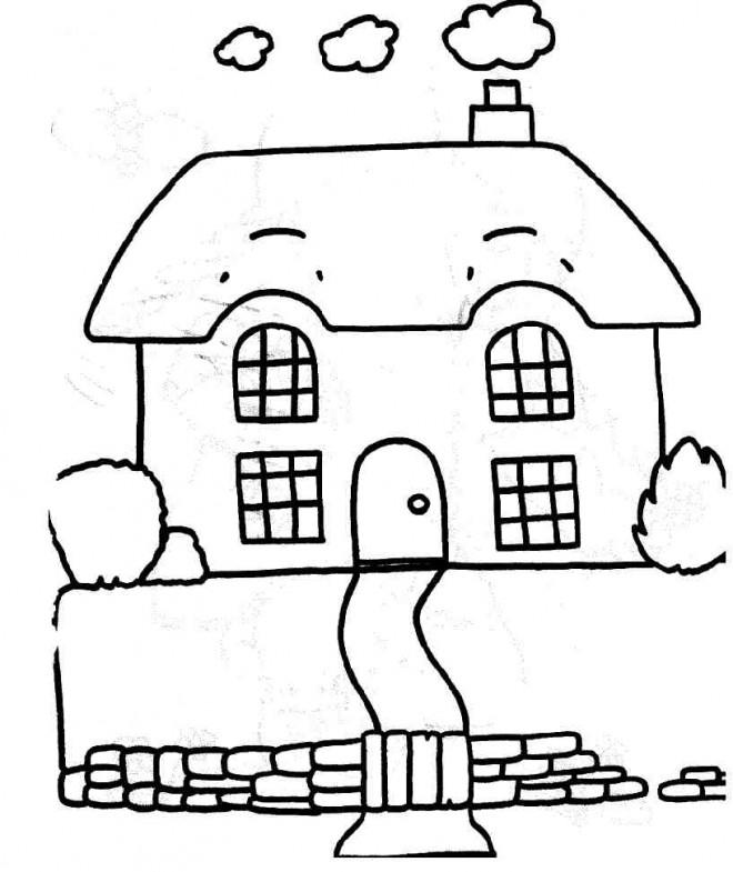 Coloriage Maison Simple maternelle dessin gratuit à imprimer