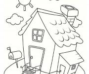 Coloriage et dessins gratuit Maison Simple sous le soleil à imprimer