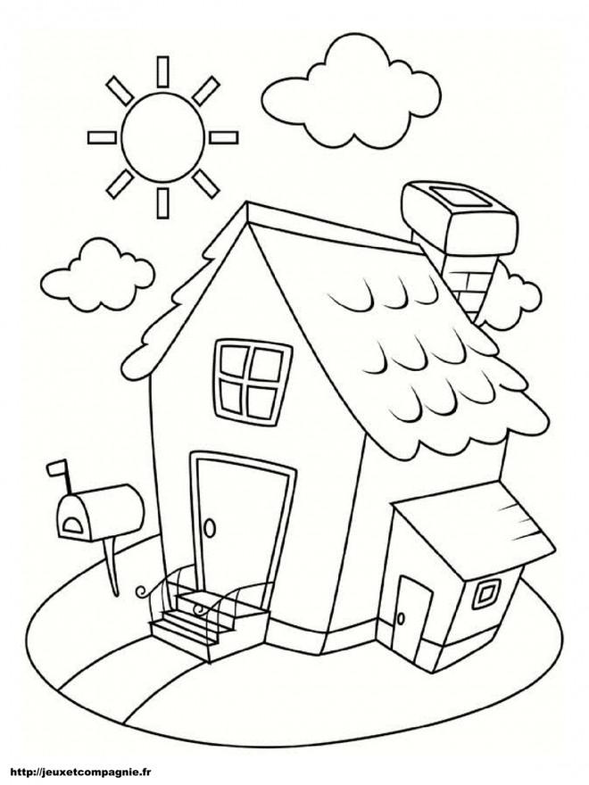 Coloriage maison simple sous le soleil dessin gratuit imprimer - Image maison dessin ...