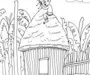 Coloriage Garçon Africain sur sa petite maison