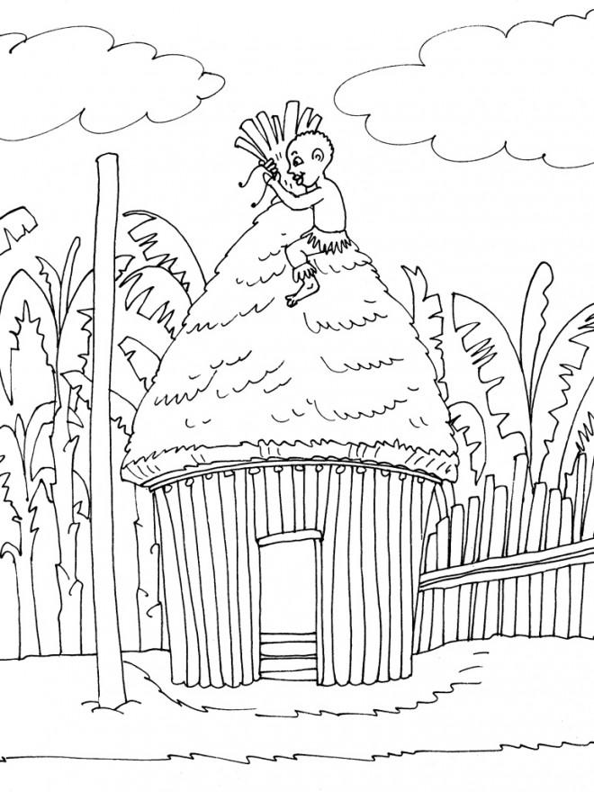 Coloriage et dessins gratuits Garçon Africain sur sa petite maison à imprimer