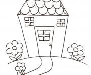 Coloriage Maison avec jardin