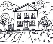 Coloriage Maison avec jardin au crayon