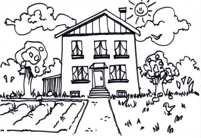 Coloriage Maison Avec Jardin Au Crayon Dessin Gratuit à Imprimer
