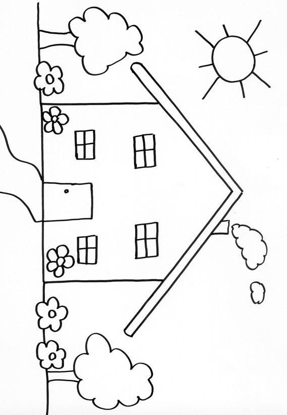 coloriage maison tr s simple dessin gratuit imprimer. Black Bedroom Furniture Sets. Home Design Ideas
