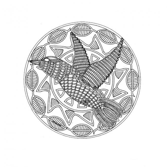 Coloriage mandala animaux oiseau dessin gratuit imprimer - Animaux mandala ...