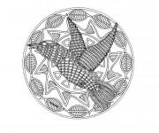 Coloriage Mandala Animaux Oiseau