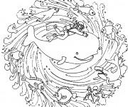 Coloriage et dessins gratuit Mandala Baleine à imprimer
