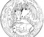 Coloriage et dessins gratuit Mandala Chevaux à colorier à imprimer