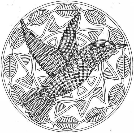 Coloriage mandala colibris dessin gratuit imprimer - Dessin mandala animaux ...