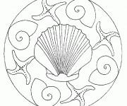 Coloriage et dessins gratuit Mandala Coquille magique à imprimer