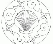 Coloriage Mandala Coquille magique