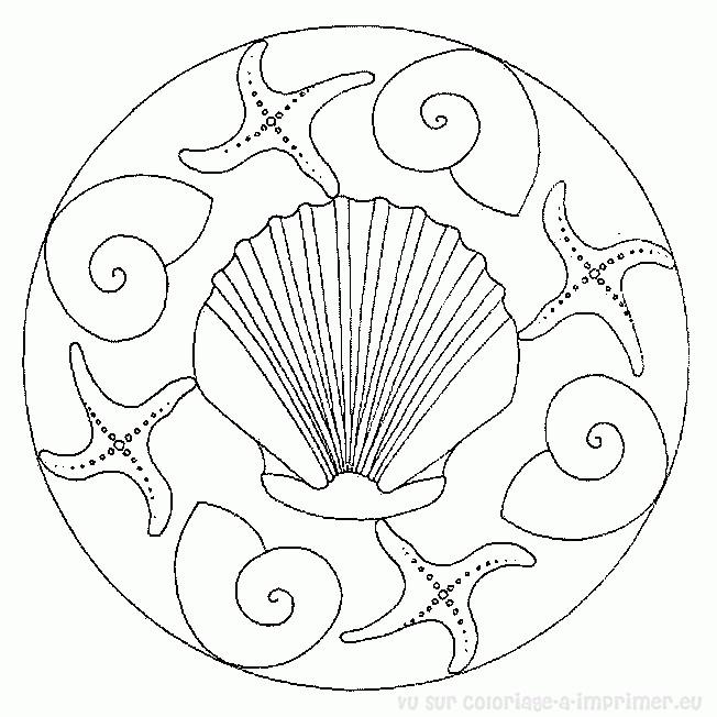 Coloriage et dessins gratuits Mandala Coquille magique à imprimer