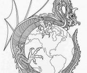 Coloriage et dessins gratuit Mandala Dragon chinois à imprimer