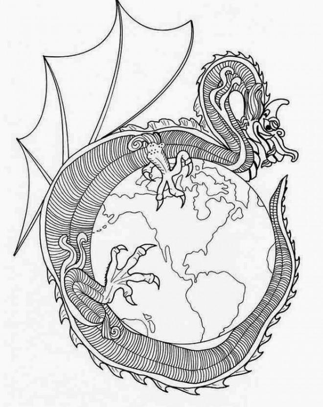 Coloriage et dessins gratuits Mandala Dragon chinois à imprimer