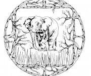 Coloriage et dessins gratuit Mandala Éléphant d'Afrique à imprimer