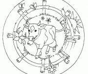 Coloriage Mandala Ferme maternelle