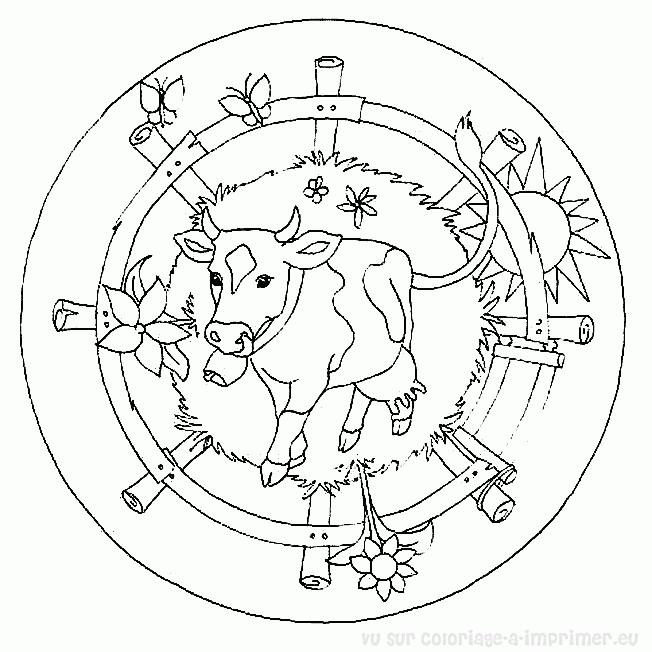 Coloriage Mandala Ferme Maternelle Dessin Gratuit à Imprimer