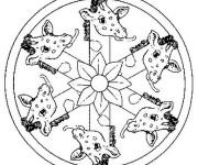 Coloriage et dessins gratuit Mandala Girafe à imprimer