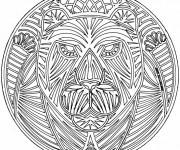 Coloriage Mandala Lion difficile