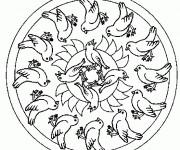 Coloriage et dessins gratuit Mandala Oiseaux en noir et blanc à imprimer