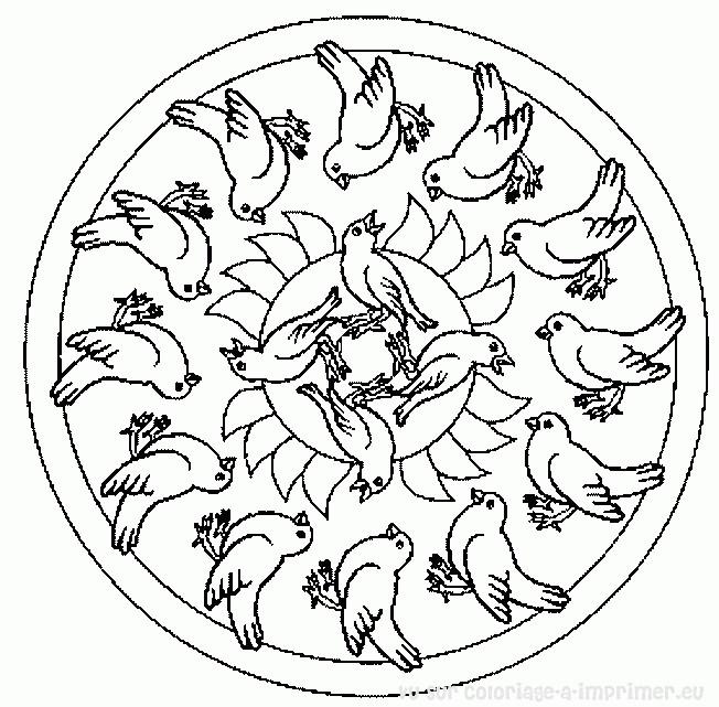 Coloriage et dessins gratuits Mandala Oiseaux en noir et blanc à imprimer