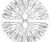 Coloriage Mandala Paon stylisé$