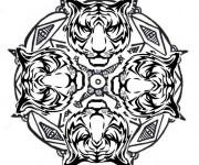 Coloriage et dessins gratuit Mandala Tigre vecteur à imprimer