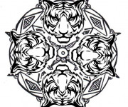 Coloriage Mandala Tigre vecteur