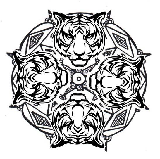 Coloriage mandala tigre vecteur dessin gratuit imprimer - Tigre mandala ...