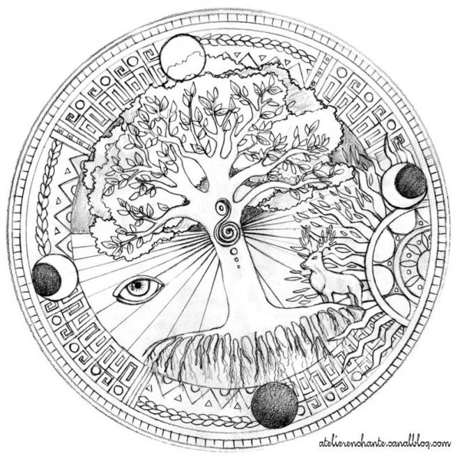 Coloriage Mandala Arbre et saisons dessin gratuit à imprimer