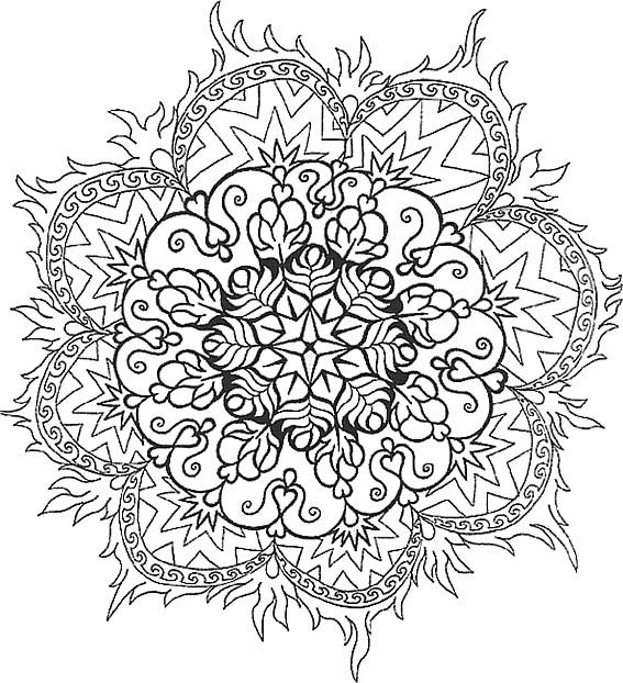 Coloriage Mandala Difficile Flamme Dessin Gratuit à Imprimer