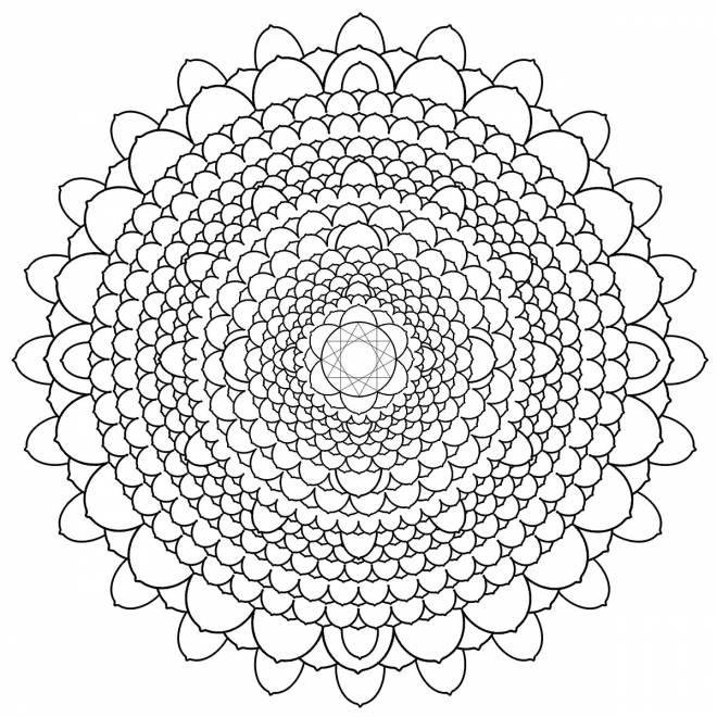 Coloriage et dessins gratuits Mandala complexe à découper à imprimer