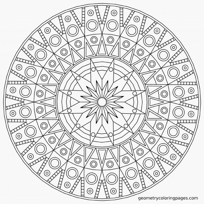 Coloriage mandala difficile angulaire dessin gratuit - Mandala beau et difficile ...