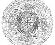 Coloriage et dessins gratuit Mandala Difficile hiver à imprimer