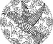 Coloriage et dessins gratuit Mandala Difficile Oiseau à imprimer