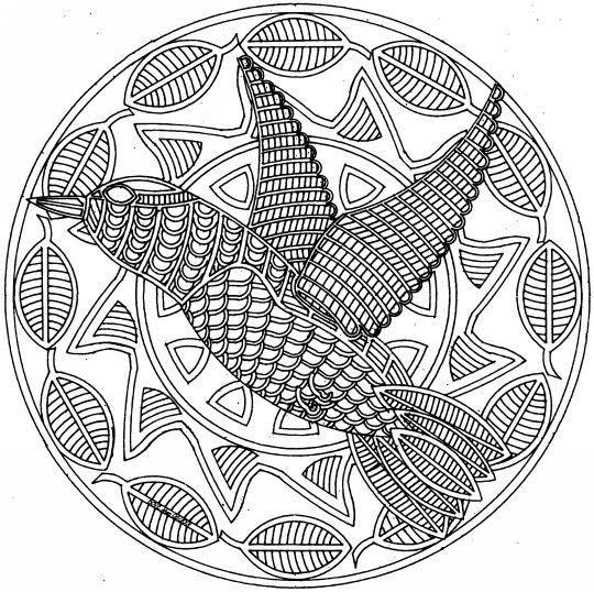 Coloriage et dessins gratuits Mandala Difficile Oiseau à imprimer