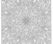Coloriage et dessins gratuit Mandala en couleur pour les adultes à imprimer