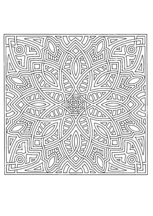 Coloriage et dessins gratuits Mandala en couleur pour les adultes à imprimer