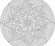 Coloriage et dessins gratuit Mandala Soleil en noir à imprimer