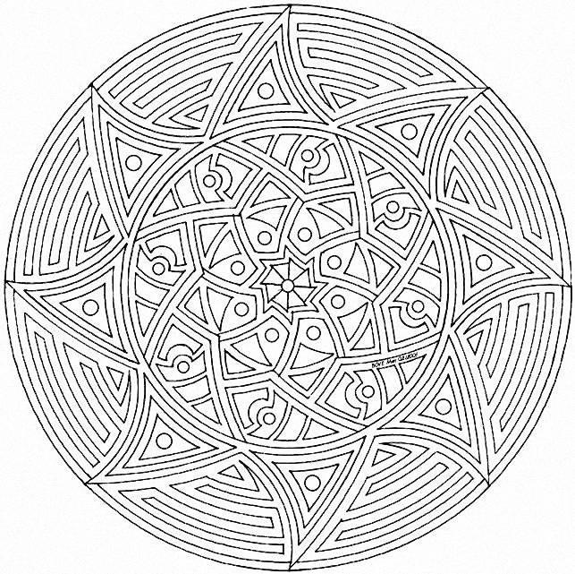 Coloriage mandala soleil en noir dessin gratuit imprimer - Mandala beau et difficile ...