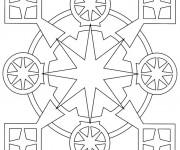 Coloriage Mandala carreaux et cercles  En Ligne