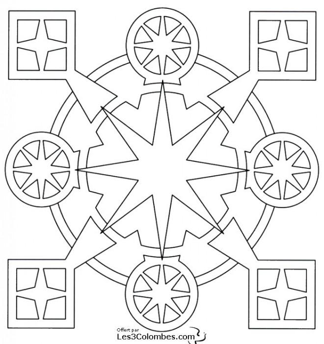 Coloriage Mandala Carreaux Et Cercles En Ligne Dessin